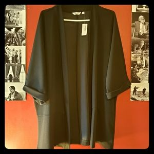 Plus Black Kimono Style Half Sleeve Cardigan